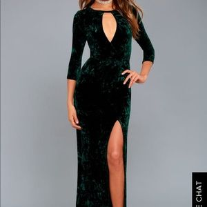 Lulu's Keep Love Alive Green Velvet Maxi Dress